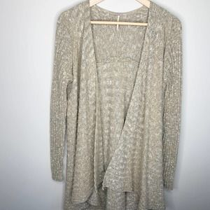 FREE PEOPLE Open Front Cardigan Oversized Tan Knit